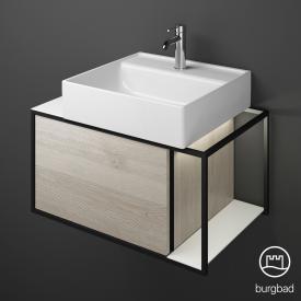 Burgbad Junit Aufsatzwaschtisch mit Waschtischunterschrank mit LED-Beleuchtung mit 1 Auszug Front eiche flanell dekor / Korpus eiche flanell dekor