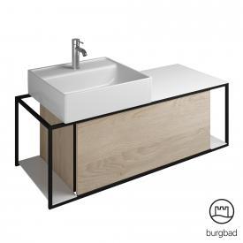 Burgbad Junit Keramik-Waschtisch inkl. Waschtischunterschrank mit 1 Auszug Front eiche cashmere dekor / Korpus eiche cashmere dekor