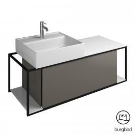 Burgbad Junit Keramik-Waschtisch inkl. Waschtischunterschrank mit 1 Auszug Front grau hochglanz / Korpus grau hochglanz
