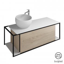 Burgbad Junit Mineralguss-Waschtisch inkl. Waschtischunterschrank mit 1 Auszug Front eiche cashmere dekor / Korpus eiche cashmere dekor