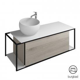 Burgbad Junit Mineralguss-Waschtisch inkl. Waschtischunterschrank mit 1 Auszug Front eiche flanell dekor / Korpus eiche flanell dekor