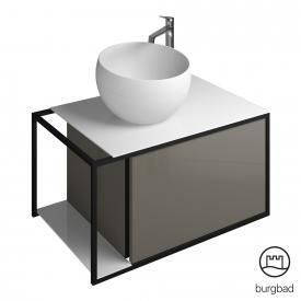 Burgbad Junit Mineralguss-Waschtisch inkl. Waschtischunterschrank mit 1 Auszug Front grau hochglanz / Korpus grau hochglanz