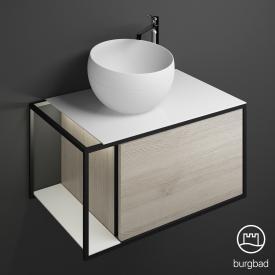 Burgbad Junit Mineralguss-Waschtisch inkl. Waschtischunterschrank  mit LED-Beleuchtung mit 1 Auszug Front eiche flanell dekor / Korpus eiche flanell dekor