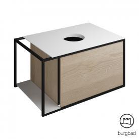 Burgbad Junit Waschtischunterschrank mit 1 Auszug für Aufsatzwaschtisch Front eiche cashmere dekor / Korpus eiche cashmere dekor