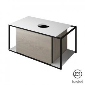 Burgbad Junit Waschtischunterschrank mit 1 Auszug für Aufsatzwaschtisch Front eiche flanell dekor / Korpus eiche flanell dekor