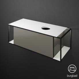 Burgbad Junit Waschtischunterschrank mit LED-Beleuchtung und 1 Auszug für Aufsatzwaschtisch Front grau hochglanz / Korpus grau hochglanz