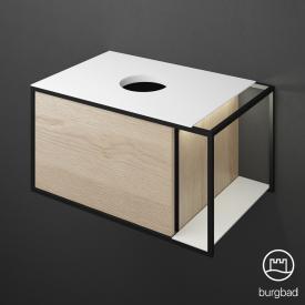 Burgbad Junit Waschtischunterschrank mit LED-Beleuchtung und 1 Auszug für Aufsatzwaschtisch Front eiche cashmere dekor / Korpus eiche cashmere dekor