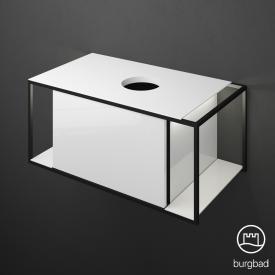 Burgbad Junit Waschtischunterschrank mit LED-Beleuchtung und 1 Auszug für Aufsatzwaschtisch Front weiß hochglanz / Korpus weiß hochglanz