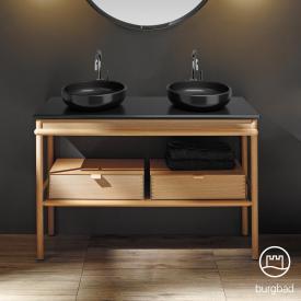Burgbad Mya 2 Aufsatzwaschtische mit Waschtischunterschrank, 2 Schubladen Front eiche natur/Korpus eiche natur/Waschtisch schwarz matt