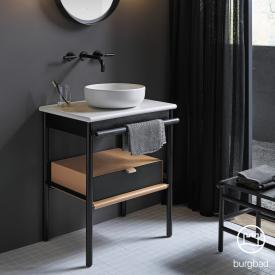 Burgbad Mya Aufsatzwaschtisch mit Waschtischunterschrank, 1 Schublade Front eiche schwarz/Korpus eiche schwarz/Waschtisch weiß samt