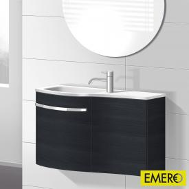 Burgbad Sinea Handwaschbecken mit Waschtischunterschrank mit 2 Türen Front hacienda schwarz/Korpus hacienda schwarz/Waschtisch weiß