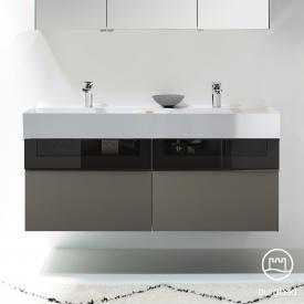 Burgbad Yumo Doppelwaschtisch mit Waschtischunterschrank mit 4 Auszügen Front grau hochglanz/bronze/Korpus grau hochglanz/Waschtisch weiß