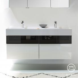 Burgbad Yumo Doppelwaschtisch mit Waschtischunterschrank mit 4 Auszügen Front weiß hochglanz/bronze/Korpus weiß hochglanz/WT weiß samt