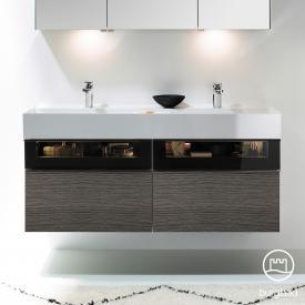 Burgbad Yumo Doppelwaschtisch mit Waschtischunterschrank mit LED-Beleuchtung und 4 Auszügen Front eiche alaska dekor/bronze/Korpus eiche alaska dekor/WT weiß