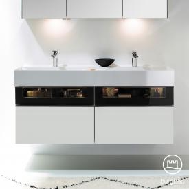 Burgbad Yumo Doppelwaschtisch mit Waschtischunterschrank mit LED-Beleuchtung und 4 Auszügen Front weiß matt/ bronze/Korpus weiß matt/Waschtisch weiß