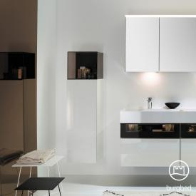 Burgbad Yumo Halbhoher Schrank mit 1 Tür und Glasfach weiß hochglanz