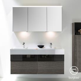 Burgbad Yumo Set Doppelwaschtisch mit Waschtischunterschrank und Spiegelschrank Front eiche alaska dekor/bronze/Korpus eiche alaska dekor/Waschtisch weiß