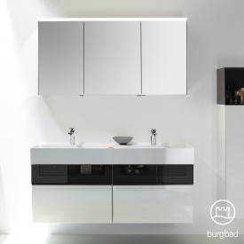 Burgbad Yumo Set Doppelwaschtisch mit Waschtischunterschrank und Spiegelschrank Front weiß hochglanz/bronze/Korpus weiß hochglanz/Waschtisch weiß
