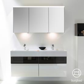 Burgbad Yumo Set Doppelwaschtisch mit Waschtischunterschrank und Spiegelschrank Front weiß hochglanz/bronze/Korpus weiß hochglanz/Waschtisch weiß samt