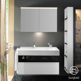 Burgbad Yumo Set Waschtisch inkl. Ablage mit Waschtischunterschrank und Spiegelschrank Front weiß hochglanz/bronze/Korpus weiß hochglanz/Waschtisch weiß samt
