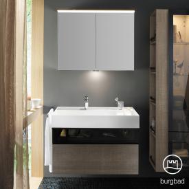 Burgbad Yumo Set Waschtisch inkl. Ablage mit Waschtischunterschrank und Spiegelschrank Front eiche graubraun wellenschlag/bronze/Korpus eiche graubraun wellenschlag/WT weiß