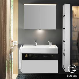 Burgbad Yumo Set Waschtisch inkl. Ablage mit Waschtischunterschrank und Spiegelschrank Front weiß matt/bronze/Korpus weiß matt/WT weiß