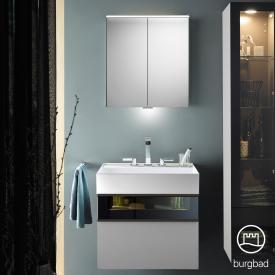Burgbad Yumo Set Waschtisch mit Waschtischunterschrank und Spiegelschrank Front eiche alaska dekor/bronze/Korpus eiche alaska dekor, Waschtisch weiß samt