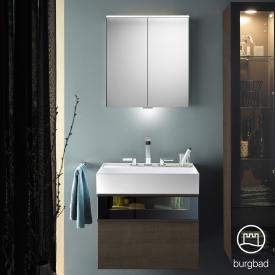 Burgbad Yumo Set Waschtisch mit Waschtischunterschrank und Spiegelschrank Front eiche graubraun wellenschlag/bronze/Korpus eiche graubraun wellenschlag, Waschtisch weiß
