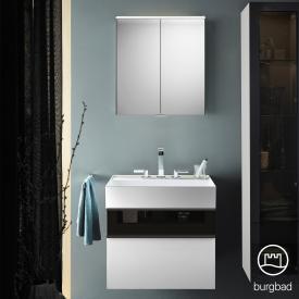 Burgbad Yumo Set Waschtisch mit Waschtischunterschrank und Spiegelschrank Front weiß hochglanz/bronze/Korpus weiß hochglanz/WT weiß