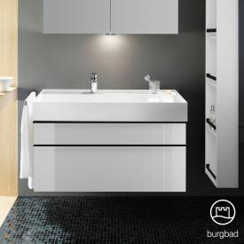 Burgbad Yumo Waschtisch inkl. Ablage mit Waschtischunterschrank mit 2 Auszügen Front weiß hochglanz/Korpus weiß hochglanz/WT weiß