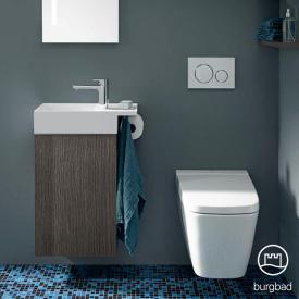Burgbad Yumo Handwaschbecken mit Waschtischunterschrank mit 1 Tür Front eiche alaska dekor/Korpus eiche alaska dekor/WT weiß samt