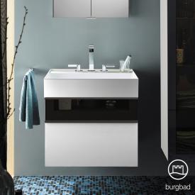 Burgbad Yumo Waschtisch mit Waschtischunterschrank mit 2 Auszügen Front weiß hochglanz/bronze/Korpus weiß hochglanz/Waschtisch weiß