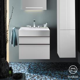 Burgbad Yumo Waschtisch mit Waschtischunterschrank mit 2 Auszügen Front weiß matt/ Korpus weiß matt/Waschtisch weiß