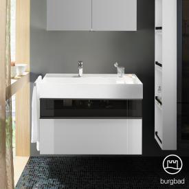 Burgbad Yumo Waschtisch inkl. Ablage mit Waschtischunterschrank mit 2 Auszügen Front weiß hochglanz/bronze/Korpus weiß hochglanz/Waschtisch weiß