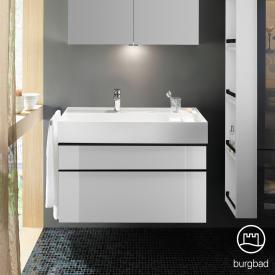 Burgbad Yumo Waschtisch inkl. Ablage mit Waschtischunterschrank mit 2 Auszügen Front weiß hochglanz/Korpus weiß hochglanz/Waschtisch weiß