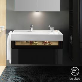 Burgbad Yumo Waschtisch inkl. Ablage mit Waschtischunterschrank mit LED-Beleuchtung und 2 Auszügen Front schwarz hochglanz/bronze/Koprus schwarz hochglanz/Waschtisch weiß samt