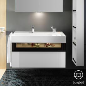 Burgbad Yumo Waschtisch inkl. Ablage mit Waschtischunterschrank mit LED-Beleuchtung und 2 Auszügen Front weiß hochglanz/bronze/Korpus weiß hochglanz/WT weiß