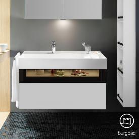Burgbad Yumo Waschtisch inkl. Ablage mit Waschtischunterschrank mit LED-Beleuchtung und 2 Auszügen Front weiß matt/ bronze/Korpus weiß matt/Waschtisch weiß