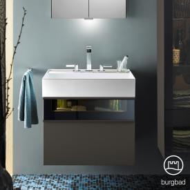 Burgbad Yumo Waschtisch mit Waschtischunterschrank mit LED Beleuchtung und 2 Auszügen Front grau hochglanz/bronze/Korpus grau hochglanz/Waschtisch weiß