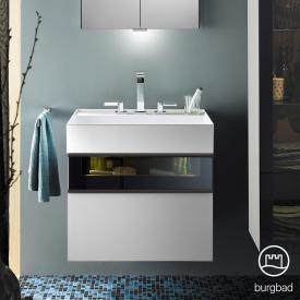 Burgbad Yumo Waschtisch mit Waschtischunterschrank mit LED Beleuchtung und 2 Auszügen Front weiß hochglanz/bronze/Korpus weiß hochglanz/Waschtisch weiß