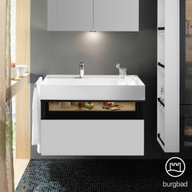 Burgbad Yumo Waschtisch inkl. Ablage mit Waschtischunterschrank mit LED-Beleuchtung und 2 Auszügen Front weiß matt/ bronze/Korpus weiß matt/WT weiß