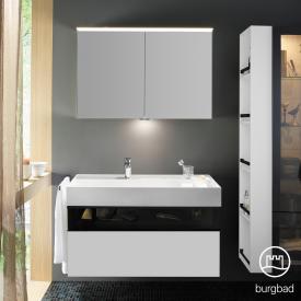 Burgbad Yumo Set Waschtisch inkl. Ablage mit Waschtischunterschrank und Spiegelschrank Front weiß matt/bronze/Korpus weiß matt, Waschtisch weiß samt