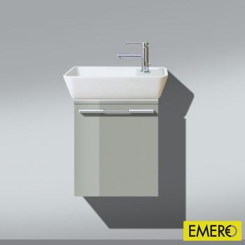 Burgbad Bel Waschtischunterschrank mit Waschtisch und 1 Tür Front lichtgrau hochgl./Korpus lichtgrau hochgl./WT weiß