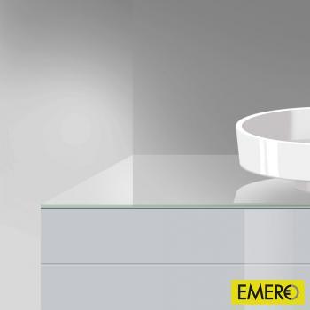 Burgbad Crono Waschtischplatte mit symmetrischer Siphonbohrung weiß hochglanz