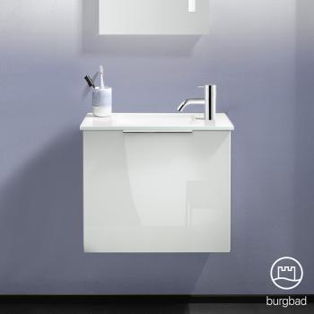 Burgbad Eqio Glas-Waschtisch mit Waschtischunterschrank mit 1 Klappe Front weiß hochglanz / Korpus weiß glanz, Griff chrom