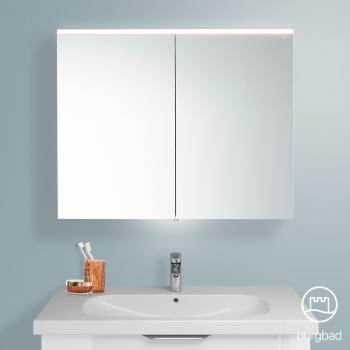 Burgbad Euro Spiegelschrank mit LED-Beleuchtung und 2 Türen Front verspiegelt / Korpus weiß hochglanz