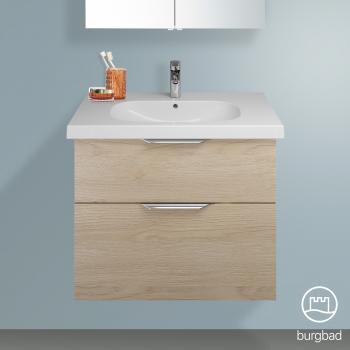 Burgbad Euro Waschtischunterschrank mit 2 Auszügen Front eiche cashmere dekor / Korpus eiche cashmere dekor