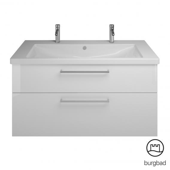 Burgbad Eqio Badmöbel-Set 4 Waschtisch mit Waschtischunterschrank und Spiegelschrank Front weiß hochglanz / Korpus weiß glanz, Stangengriff chrom