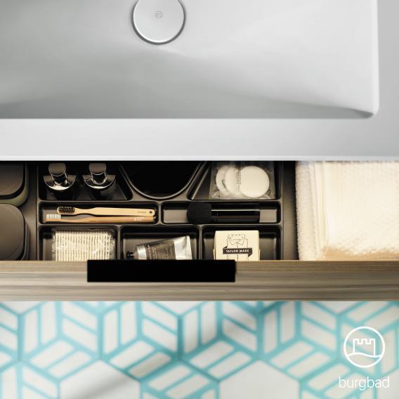 Burgbad Eqio Doppel-Waschtisch mit Waschtischunterschrank mit 2 Auszügen Front weiß hochglanz / Korpus weiß glanz, Griff chrom