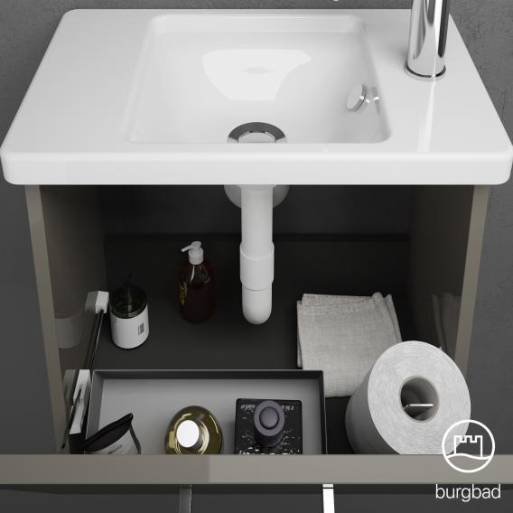 Burgbad Eqio Handwaschbecken mit Waschtischunterschrank mit 1 Klappe Front grau hochglanz / Korpus grau glanz, Stangengriff chrom